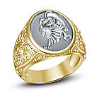Leo Zodiac Ring 14k Yellow Gold Plated 925 Sterling Silver  White CZ Men's Ring