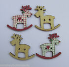 Novelty Wooden Buttons - Rocking Reindeer - Shabby Chic - Christmas - Crafts