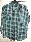 WOMANS LADIES COTTON PLUS SIZE BLACK GREEN CHECK SHIRT 16 18 20 22 24 26 28 30