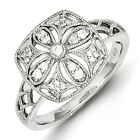 SS Rhodium Plated Diamond Square Ring/CT Wt- 0.150ct/Met Wt-2.910g
