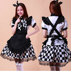 Newest Nyaruko Cosplay Dress Squares Sexy Maid Outfit Costume Set Apron Black