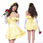 Womens Princess Belle Fancy Dress Up Beauty Beast Party Costume Outfit Size S-XL