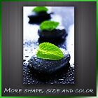 ' Spa Stone Green leaf ' Modern Contemporary Abstract Art Framed Canvas Box