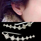 Top Quality Four-Prong Setting CZ Rhinestones Silver Pated Earrings Studs #82B3