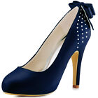 EP11034-IP Women Navy Blue Closed Toe High Heel Bowknot Satin Bridal Party Shoes