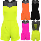 Women's Sweetheart Mesh Neck Contrast Ladies Sleeveless Party Shorts Playsuit