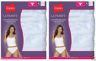 8 Pack Hanes Women's Ultimate Cotton Comfort Hi-Cut Panties ALL WHITE Size 5-10