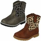 GIRLS ANIMAL PRINT ZIP UP COWBOY STYLE BOOTS IN GREY OR BROWN - H4110
