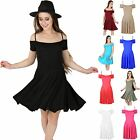 Womens Ladies Strappy Camisole Bardot Off Cut Shoulder Swing Midi Skater Dress