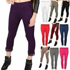 Womens Ladies 3/4 Length Lace Trim Edge Cropped Jog Trousers Jeggings Leggings