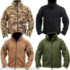 MENS TACTICAL FLEECE HOODED JACKET FULL ZIP HOODIE MTP GREEN CAMPING