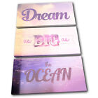 Dream Vintage  Typography CANVAS WALL ART Picture Print VA
