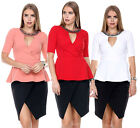Fashion Women Short Sleeve Zipper Blouse Pleated Peplum Frill Tunic T Shirt Tops