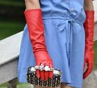 """40cm(15.7"""")long leather evening/elbow  genuine leather plain style gloves red"""