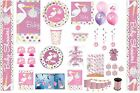 GIRL BABY SHOWER PARTY TABLEWARE DECORATIONS BALLOONS PINK STORK DESIGN