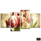 Tulips Flowers   Vintage BOX FRAMED CANVAS ART Picture HDR 280gsm