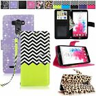 For LG G Vista D631 VS880 PU Leather Flip Zig Zag Pouch ID Card Slot Wallet Case