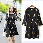 Sexy Womens Mini Dress Long Sleeve Pineapple Printed Patchwork Casual Black FKS