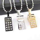 Men's Stainless Steel Silver Black Whistle Crystal Pendant Necklace wwwfashion