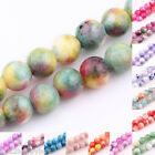 25/50PCS Semi Gemstone Two-Tone Loose Spacer Round Glass Beads 6mm For Jewelry