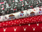 Fat Quarter Cotton Fabric Bundle Christmas Stars Rudolph Festive Red Grey  F34