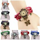 Women Vintage Fashion Butterfly Bracelet Faux Leather Quartz Wrist Watch FKS