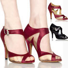 Fashion Design Lady Satin Ballroom Salsa Latin Dance Shoes Tango Heeled Shoe