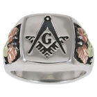 Mens Black Hills Gold on Oxidized Sterling Silver Masonic Ring #40940-OX-GS