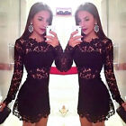 New Lace Womens Long Sleeve Sexy Black Lace Backless Evening Party Bodycon Dress