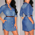 Vintage Fashion Womens Long Sleeve Denim Shirt Button Casual OL Mini Jeans Dress