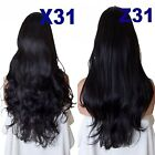 NATURAL BLACK Long Curly Layered Half Wig Hair Piece Ladies 3/4 Wig Fall #1B