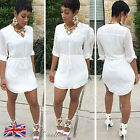 UK Sexy Women Ladies Casual Loose V-Neck Long Sleeve Tops Shirt Blouse Dress New