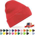 Mens Womens Plain Beanie Hat Knit Ski Cap Warm Solid Color Winter Cuff Thermal