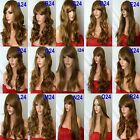 Brown Wig Highlight Long Curly Straight Wavy Women Fashion Full Ladies Hair WIG