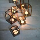 Metal & Glass Lantern in Copper or Brass, Votive Candle Tea Light Holder 3 sizes