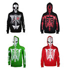 Mens Full Face Mask Skeleton Skull Hoodie Sweatshirt Halloween Costume T-shirt