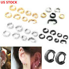 Pair Unisex Mens Stainless Steel Hoop Huggies Ear Helix Studs Earrings Piercing