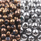 50PCS Bronze Silver Plated Round Crysal Glass Loose Spacer Beads 6mm For Jewelry