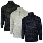 Mens Knitted Jumper Kensington Eastside New Pullover Zip Up Funnel Neck Sweater