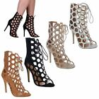 LADIES HIGH STILETTO HEEL CUT OUT LACE UP CAGED OPEN TOE ANKLE BOOTS SHOES SIZE