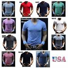 Men's T-Shirt Plain Blank V-Neck Lot Muscle Slim Fit Gym Fashion Casual Tee S-3X