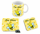 Lovely Personalised Any Name Yellow Bee Mug, Coaster & Mouse Mat Design