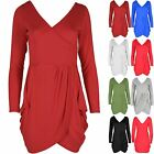 Womens V Neck Wrap Over Detail Tunic Ladies Tulip Shape Party Evening Mini Dress