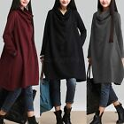 Women Cotton Linen Loose Sweater Casual Top Dress Cowl Neck Sweatshirt Plus Size