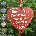Personalised Mr & Mrs First Christmas Tree Bauble Heart Decoration Gift Present