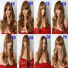 BROWN HIGHLIGHTED BLONDE Long Wavy Straight Full Ladies Wig costume Halloween