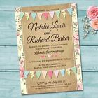 Personalised Wedding Evening Invitations & Envelopes *Pastel Colour Bunting