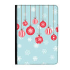"""Christmas Baubles & Snowflakes Classic Universal 9-10.1"""" Leather Flip Case Cover"""