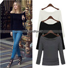 Fashion Sexy Women Long Sleeve Off-Shoulder Cotton Basic Shirts Blouses Tops