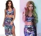 OMBRE PURPLE SILVER SEQUIN HIGH WAIST MIDI SKIRT & TOP CO ORD 2PC SET UK 8-16